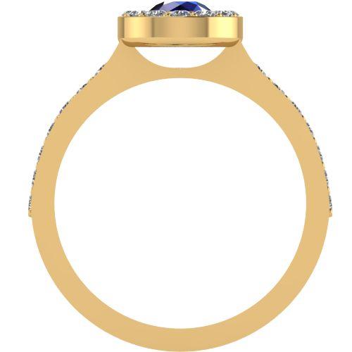 Годежен Пръстен жълто злато със сапфир Halo 4mm. 2021 b