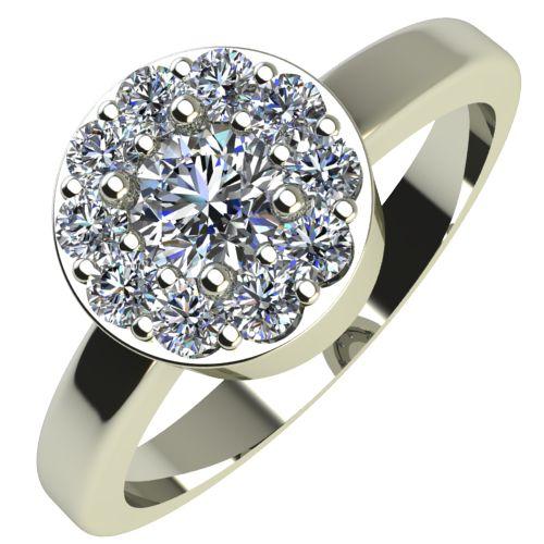 Годежен Пръстен бяло злато с диамант Halo 0,32 ct. 2075