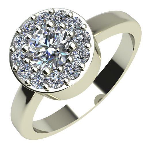Годежен Пръстен бяло злато с диамант Halo 0,43 ct. 2078