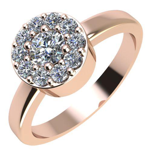 Годежен Пръстен розово злато с диамант Halo 0,27 ct. 2074