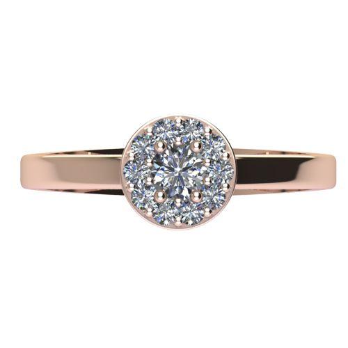 Годежен Пръстен розово злато с диамант Halo 0,32 ct. 2077 a