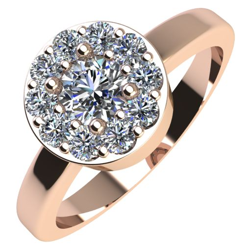Годежен Пръстен розово злато с диамант Halo 0,32 ct. 2077