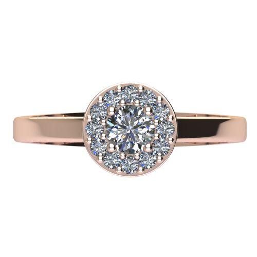 Годежен Пръстен розово злато с диамант Halo 0,43 ct. 2080 a