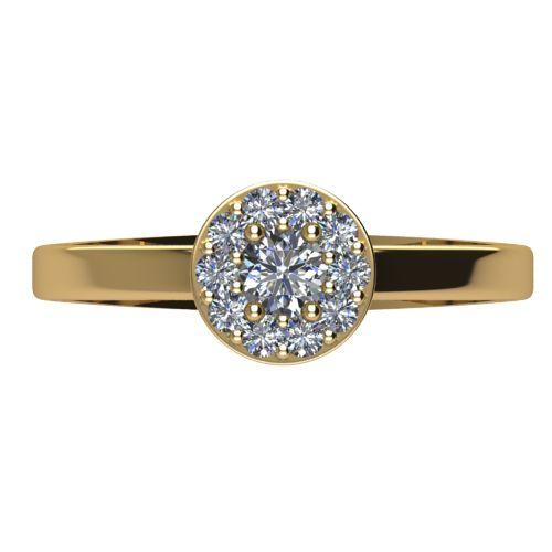 Годежен Пръстен жълто злато с диамант Halo 0,27 ct. 2073 a