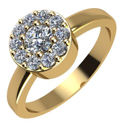 Годежен Пръстен жълто злато с диамант Halo 0,27 ct. 2073