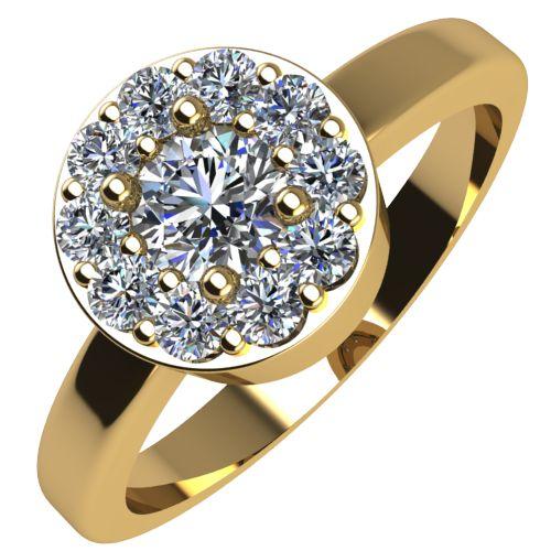 Годежен Пръстен жълто злато с диамант Halo 0,32 ct. 2076