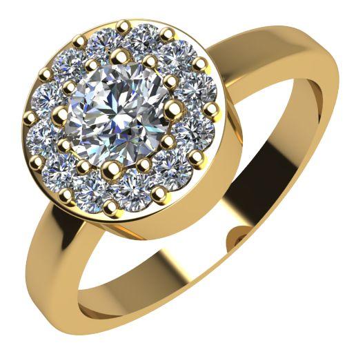 Годежен Пръстен жълто злато с диамант Halo 0,43 ct. 2079