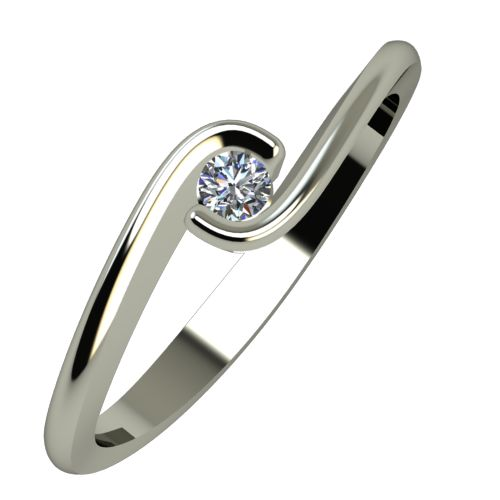Годежен Пръстен бяло злато с диамант Accent 0,04 ct. 939