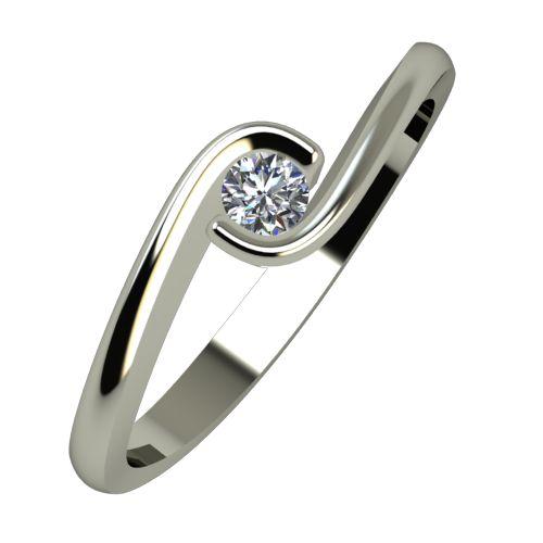 Годежен Пръстен бяло злато с диамант Accent 0,07 ct. 940