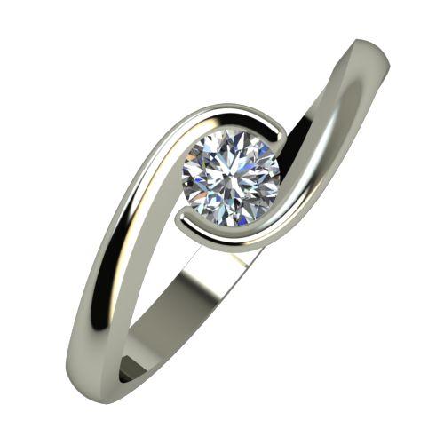Годежен Пръстен бяло злато с диамант Accent 0,17 ct. 942