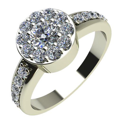 Годежен Пръстен бяло злато с диамант Halo 0,47 ct. 2081