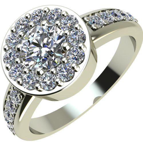 Годежен Пръстен бяло злато с диамант Halo 0,58 ct. 2082