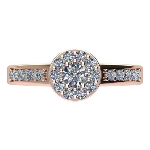 Годежен Пръстен розово злато с диамант Halo 0,47 ct. 2084 a