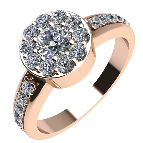 Годежен Пръстен розово злато с диамант Halo 0,47 ct. 2084