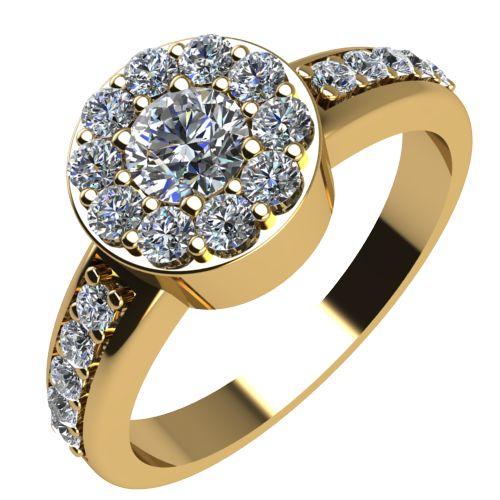 Годежен Пръстен жълто злато с диамант Halo 0,47 ct. 2083