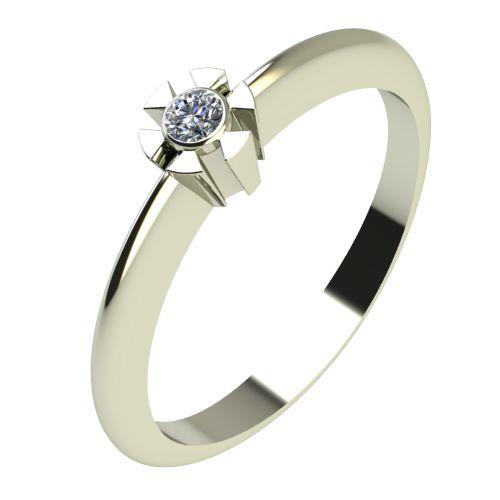 Годежен Пръстен бяло злато с диамант Flores 0,02 ct. 2174