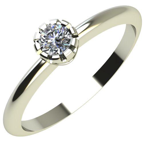 Годежен Пръстен бяло злато с диамант Flores 0,04 ct. 2156