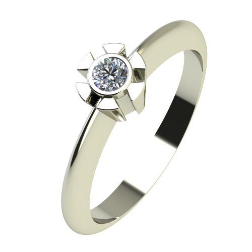 Годежен Пръстен бяло злато с диамант Flores 0,04 ct. 2172