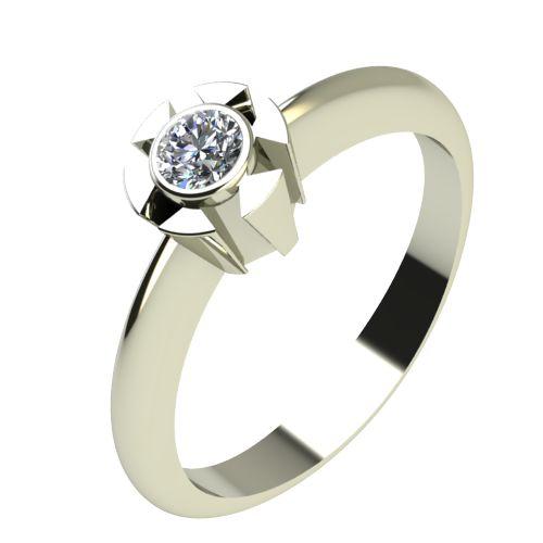 Годежен Пръстен бяло злато с диамант Flores 0,07 ct. 2173