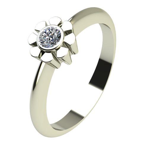Годежен Пръстен бяло злато с диамант Flores 0,07 ct. 2180