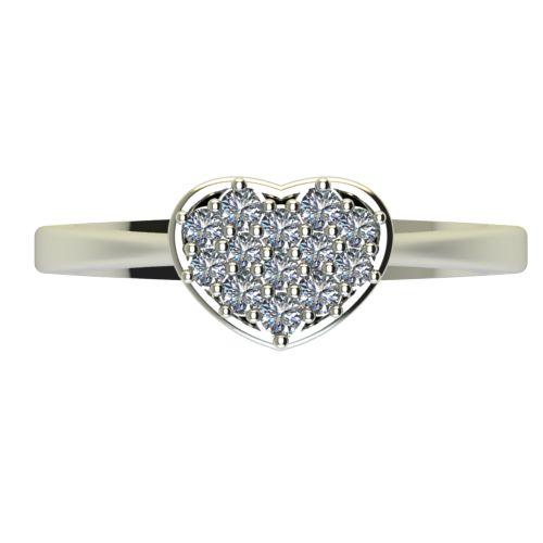 Годежен Пръстен бяло злато с диамант Heart 0,22 ct. 2195 a