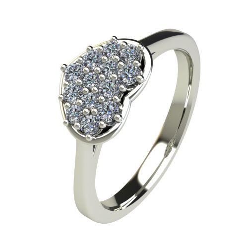 Годежен Пръстен бяло злато с диамант Heart 0,22 ct. 2195