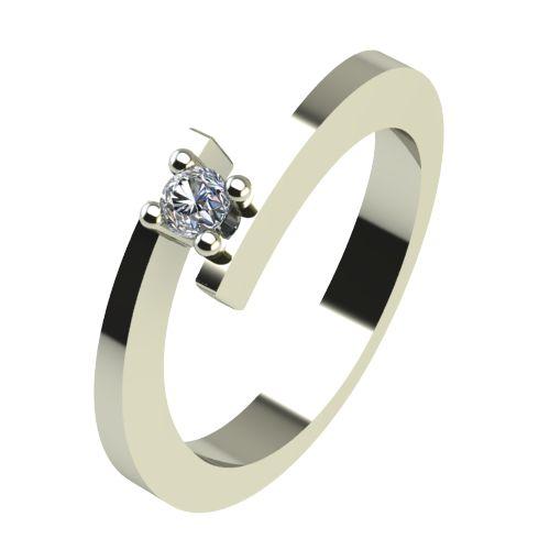 Годежен Пръстен бяло злато с диамант Close 0,04 ct. 2234