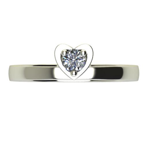 Годежен Пръстен бяло злато с диамант Heart 0,12 ct. 2220 a
