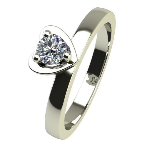 Годежен Пръстен бяло злато с диамант Heart 0,12 ct. 2220