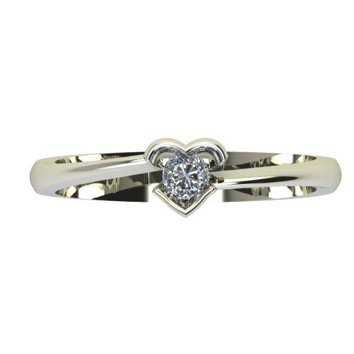 Годежен Пръстен бяло злато с диамант Heart 0,12 ct. 2253 a