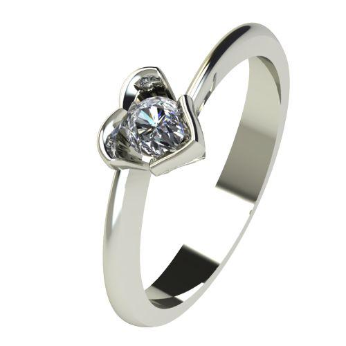 Годежен Пръстен бяло злато с диамант Heart 0,12 ct. 2253