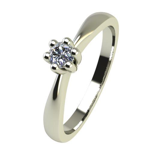 Годежен Пръстен бяло злато с диамант Thin 0,04 ct. 2307