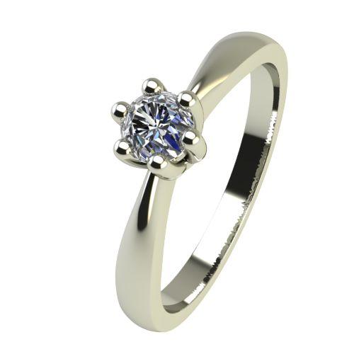 Годежен Пръстен бяло злато с диамант Thin 0,12 ct. 2313