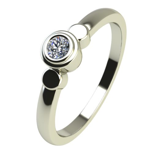 Годежен Пръстен бяло злато с диамант Moon 0,04 ct. 2362