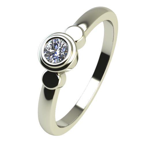 Годежен Пръстен бяло злато с диамант Moon 0,07 ct. 2363