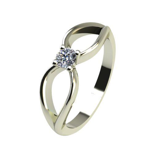 Годежен Пръстен бяло злато с диамант Wings 0,04 ct. 2344