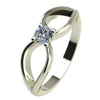 Годежен Пръстен бяло злато с диамант Wings 0,07 ct. 2345