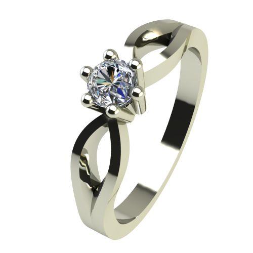 Годежен Пръстен бяло злато с диамант Wings 0,04 ct. 2372