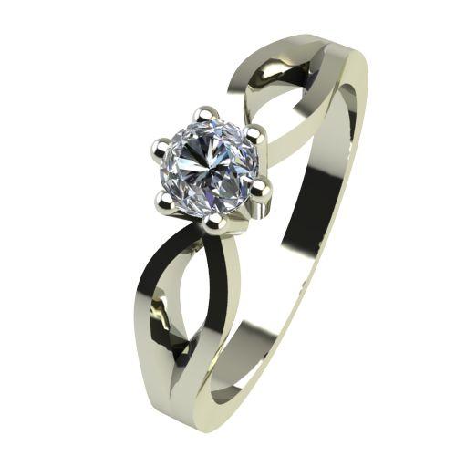Годежен Пръстен бяло злато с диамант Wings 0,07 ct. 2373