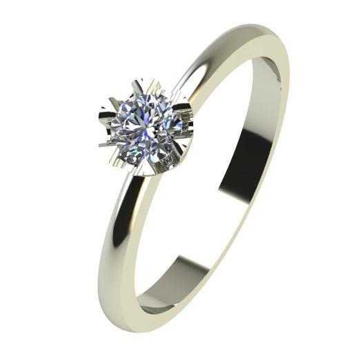 Годежен Пръстен бяло злато с диамант Flores 0,12 ct. 2410