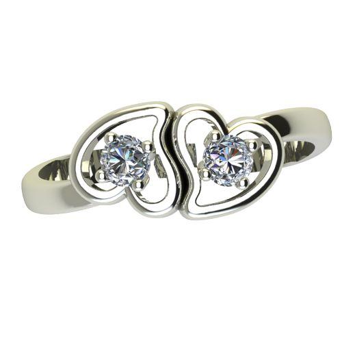 Годежен Пръстен бяло злато с диамант Hearts 0,14 ct. 2389 a