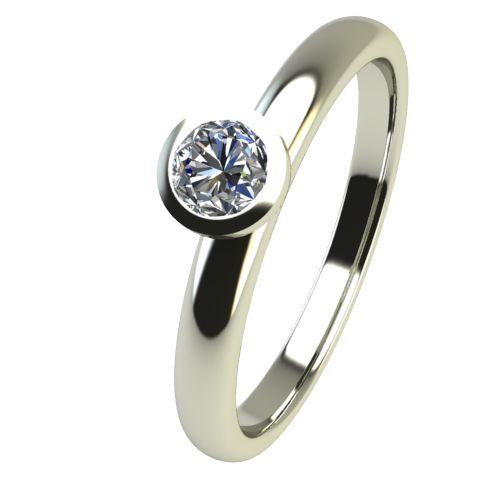Годежен Пръстен бяло злато с диамант Moon 0,12 ct. 2415