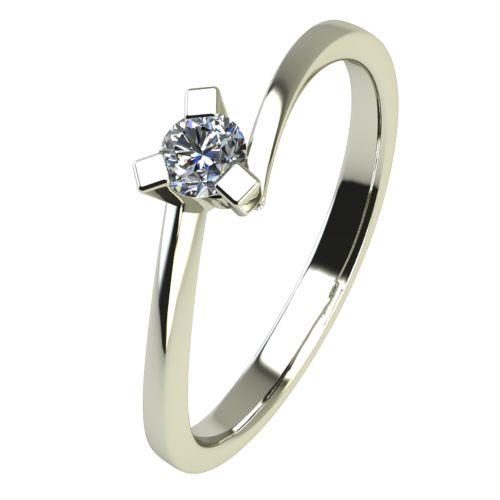 Годежен Пръстен бяло злато с диамант Form 0,04 ct. 2423