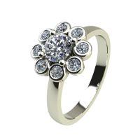 Годежен Пръстен бяло злато с диамант Halo 0,29 ct. 2433