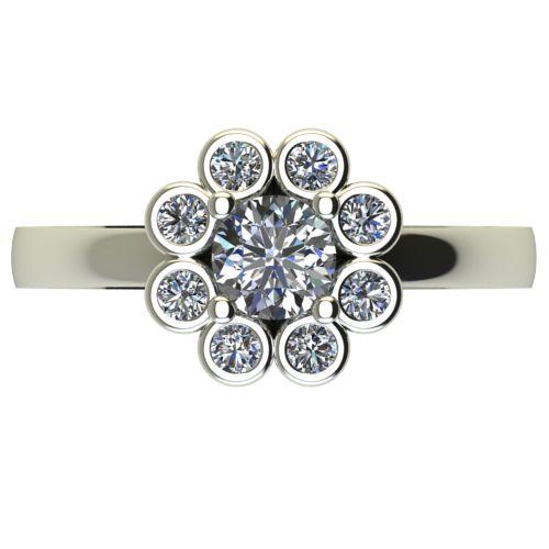 Годежен Пръстен бяло злато с диамант Halo 0,29 ct. 2433 a