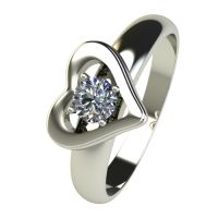 Годежен Пръстен бяло злато с диамант Heart 0,25 ct. 2481