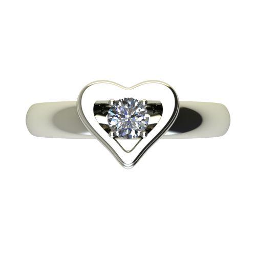 Годежен Пръстен бяло злато с диамант Heart 0,25 ct. 2481 a