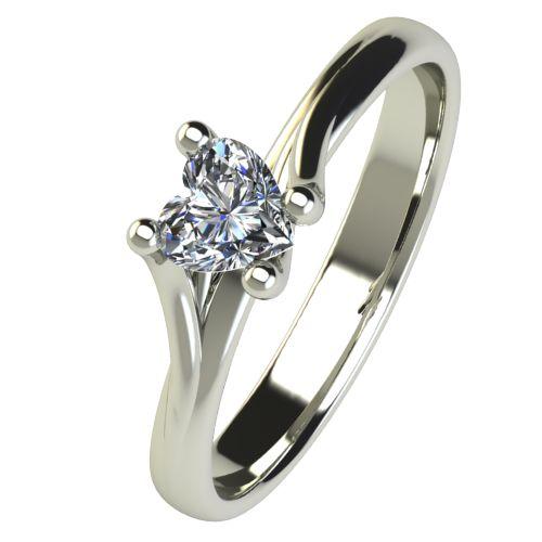 Годежен Пръстен бяло злато с диамант Heart 0,25 ct. 2484
