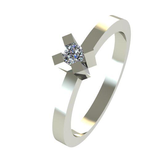Годежен Пръстен бяло злато с диамант Cante 0,04 ct. 2515