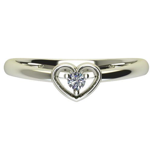 Годежен Пръстен бяло злато с диамант Heart 0,04 ct. 2557 a
